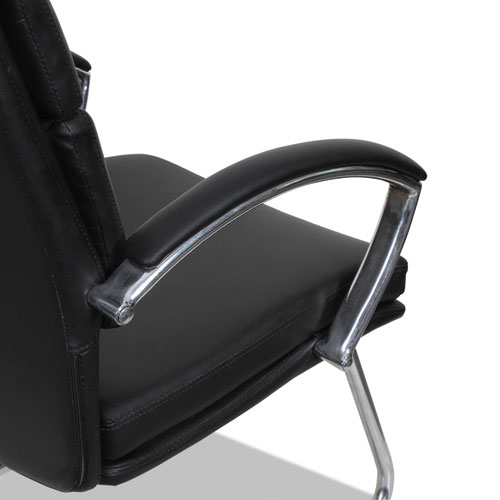 Alera Neratoli Slim Profile Guest Chair, 23.81'' x 27.16'' x 36.61'', Black Seat/Black Back, Chrome Base. Picture 5