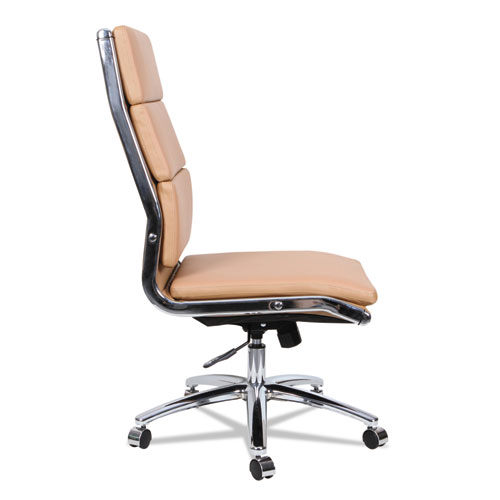Alera Neratoli High-Back Slim Profile Chair, Supports up to 275 lbs, Camel Seat/Camel Back, Chrome Base. Picture 8