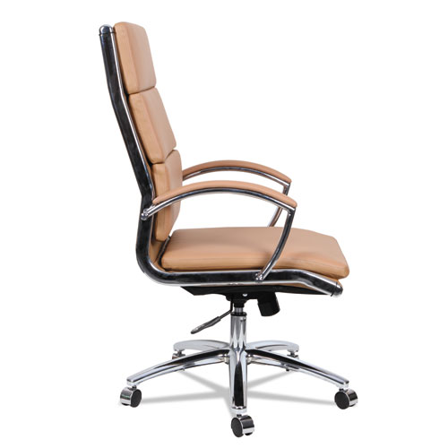 Alera Neratoli High-Back Slim Profile Chair, Supports up to 275 lbs, Camel Seat/Camel Back, Chrome Base. Picture 9