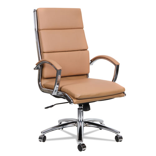 Alera Neratoli High-Back Slim Profile Chair, Supports up to 275 lbs, Camel Seat/Camel Back, Chrome Base. Picture 1