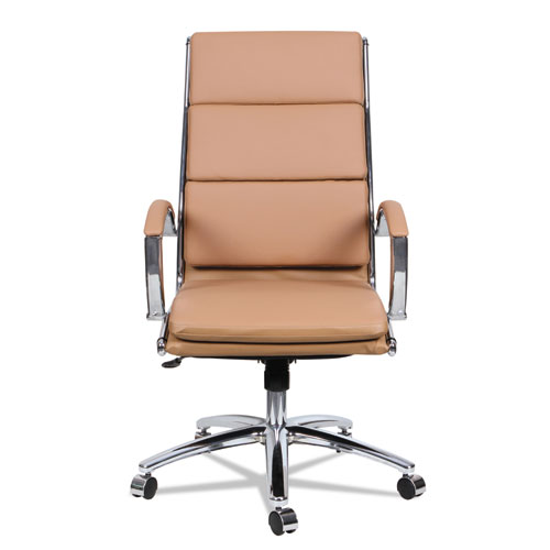 Alera Neratoli High-Back Slim Profile Chair, Supports up to 275 lbs, Camel Seat/Camel Back, Chrome Base. Picture 10