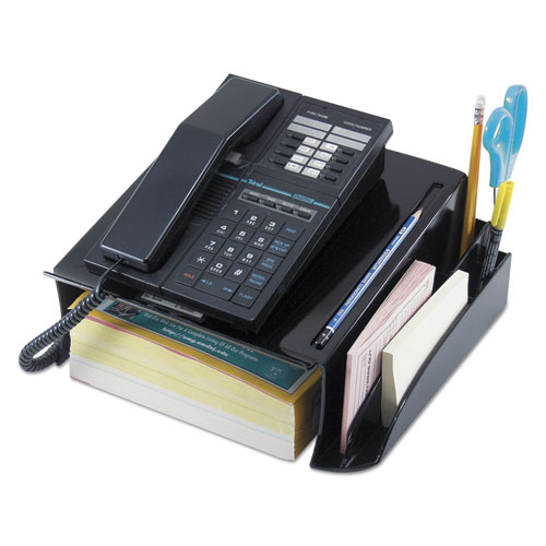 Telephone Stand and Message Center, 12 1/4 x 10 1/2 x 5 1/4, Black. Picture 1