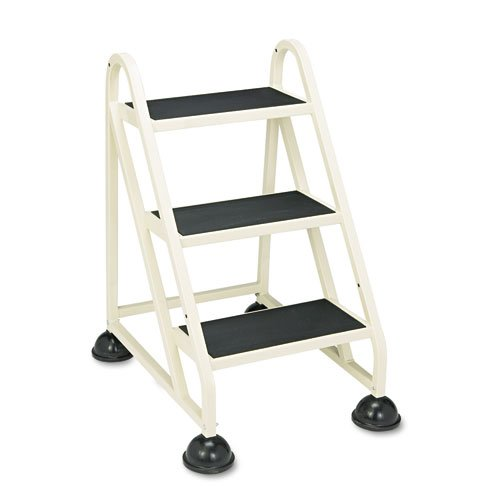 "Stop-Step Ladder, 32.75"" Working Height, 300 lbs Capacity, 3 Step, Beige. Picture 1"