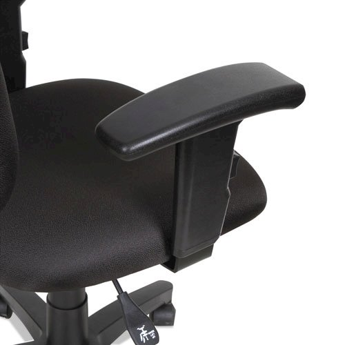 Alera Essentia Series Swivel Task Chair with Adjustable Arms, Supports up to 275 lbs, Black Seat/Black Back, Black Base. Picture 3