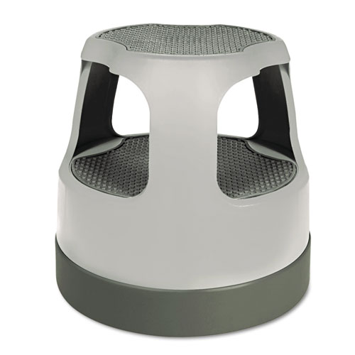 """Scooter Stool, Round, 2-Step, 15"""", Step and Lock Wheels, 300 lb Capacity, Gray. Picture 1"""