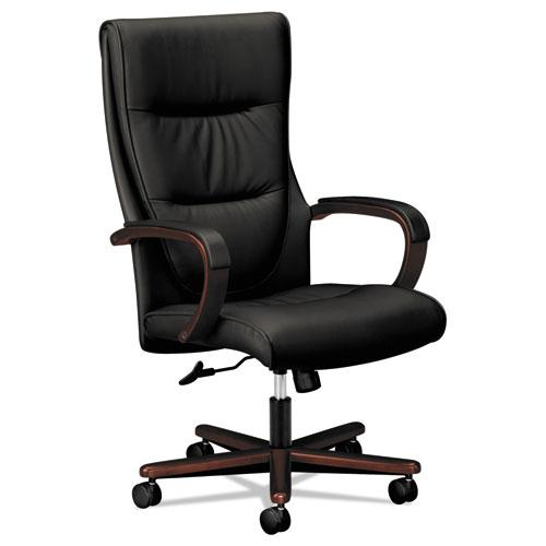 VL844 Leather High-Back Chair, Supports up to 250 lbs., Black Seat/Mahogany Back, Mahogany Base