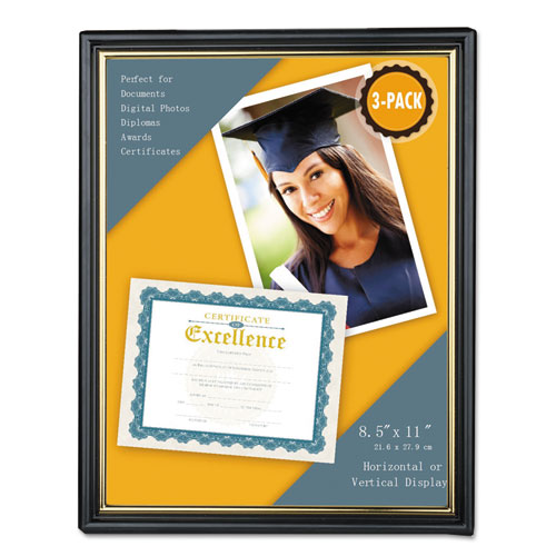 All Purpose Document Frame, 8.5 x 11 Insert, Black/Gold, 3/Pack. Picture 1