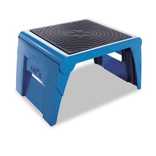 Folding Step Stool, 1-Step, 300 lb Capacity, 14w x 11.25d x 9.75h, Blue. Picture 1