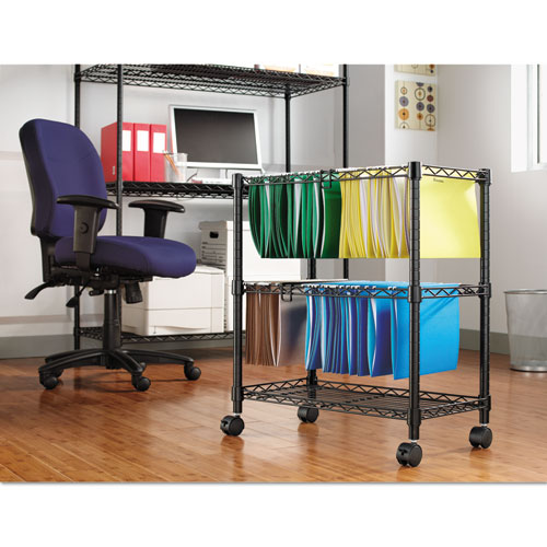 Two-Tier Rolling File Cart, 26w x 14d x 29.5h, Black. Picture 3