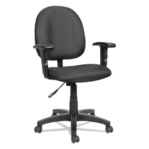 Alera Essentia Series Swivel Task Chair with Adjustable Arms, Supports up to 275 lbs, Black Seat/Black Back, Black Base. Picture 2