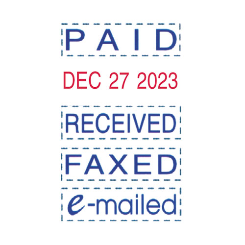 Trodat Econ Micro 5-in-1 Message Stamp, Dater, Self-Inking, 1 x 0.75, Blue/Red. Picture 2