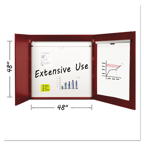 Conference Cabinet, Porcelain Magnetic, Dry Erase, 48 x 48, Cherry. Picture 1