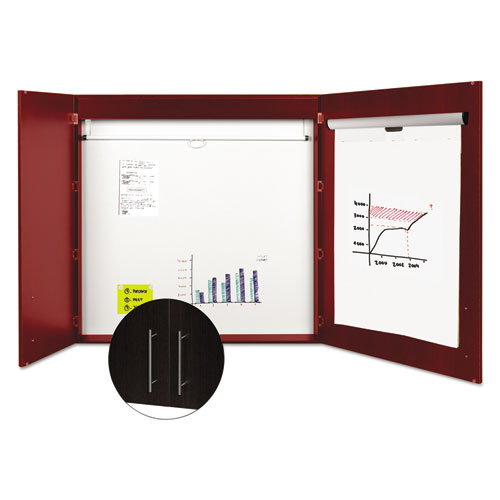 Conference Cabinet, Porcelain Magnetic, Dry Erase, 48 x 48, Cherry. Picture 3