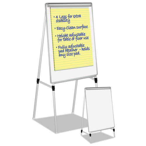 """Silver Easy Clean Dry Erase Quad-Pod Presentation Easel, 45"""" to 79"""", Silver. Picture 2"""