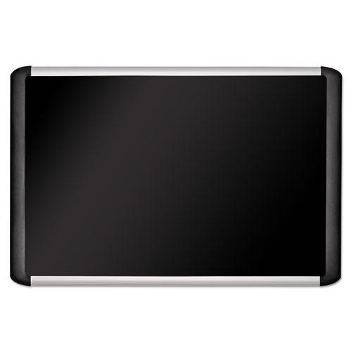 Black fabric bulletin board, 48 x 72, Silver/Black. Picture 1