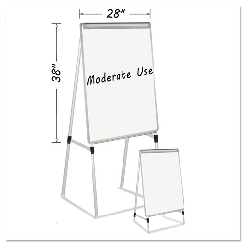 """Silver Easy Clean Dry Erase Quad-Pod Presentation Easel, 45"""" to 79"""", Silver. Picture 1"""