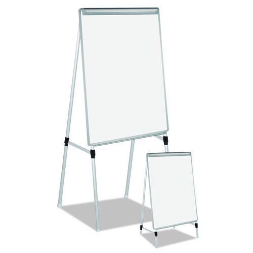 """Silver Easy Clean Dry Erase Quad-Pod Presentation Easel, 45"""" to 79"""", Silver. Picture 3"""
