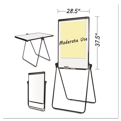 Folds-to-a-Table Melamine Easel, 28 1/2 x 37 1/2, White, Steel/Laminate. Picture 1