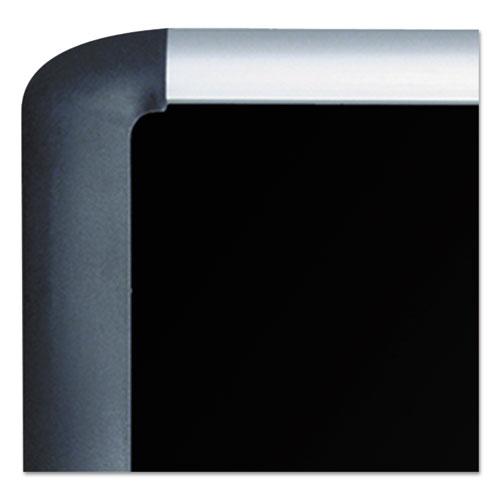 Black fabric bulletin board, 48 x 72, Silver/Black. Picture 3