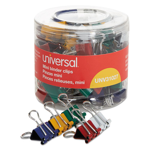 Binder Clips in Dispenser Tub, Mini, Assorted Colors, 60/Pack. Picture 1