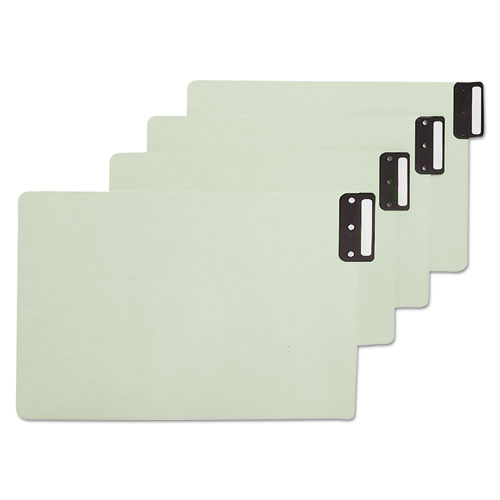 100% Recycled End Tab Pressboard Guides with Metal Tabs, 1/3-Cut End Tab, Blank, 8.5 x 14, Green, 50/Box. Picture 1