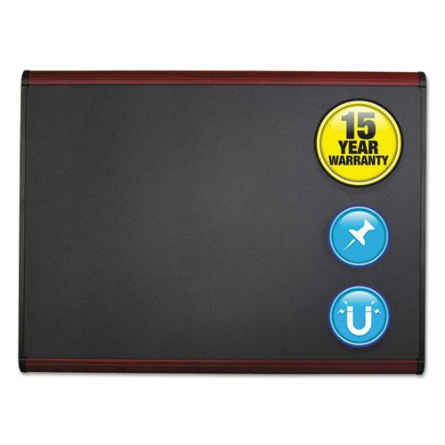 Prestige Plus Magnetic Fabric Bulletin Board, 48 x 36, Mahogany Frame. Picture 1