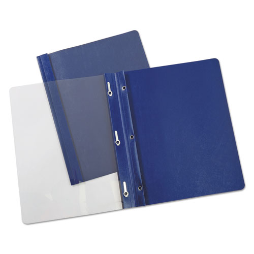 """Plastic Cover, Tang Clip, Letter, 1/2"""" Capacity, Clear/Dark Blue, 25/Box. Picture 1"""
