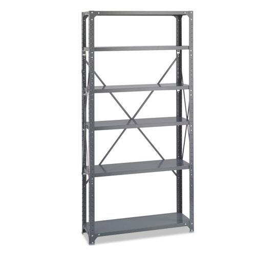 Commercial Steel Shelving Unit, Six-Shelf, 36w x 12d x 75h, Dark Gray. Picture 3