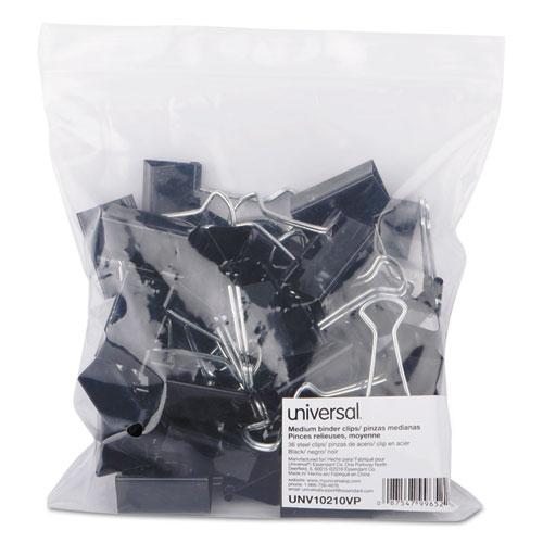 Binder Clips in Zip-Seal Bag, Medium, Black/Silver, 36/Pack. Picture 2