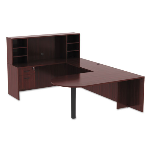 "Alera Valencia Series D-Top Desk, 71"" x 35.5"" x 29.63"", Mahogany. Picture 3"