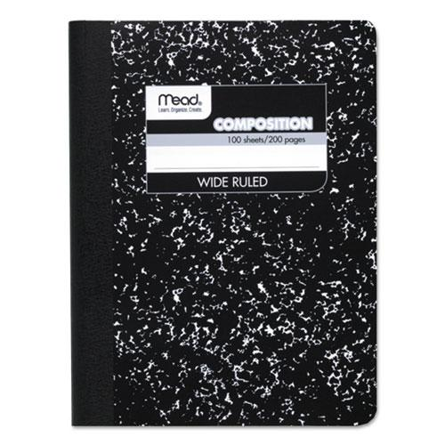 Composition Book, Wide/Legal Rule, Black Cover, 9.75 x 7.5, 100 Sheets. Picture 1