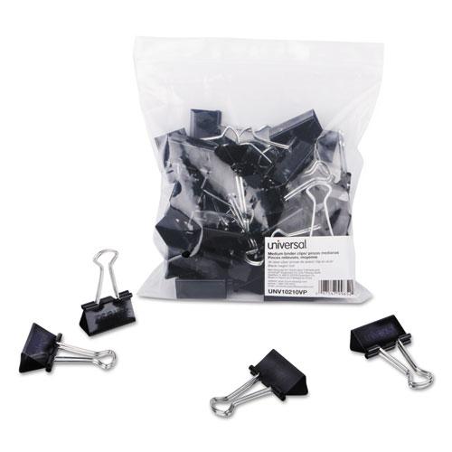 Binder Clips in Zip-Seal Bag, Medium, Black/Silver, 36/Pack. Picture 1