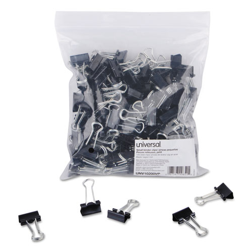 Binder Clips in Zip-Seal Bag, Small, Black/Silver, 144/Pack. Picture 1
