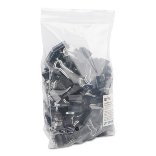 Binder Clips in Zip-Seal Bag, Small, Black/Silver, 144/Pack. Picture 5