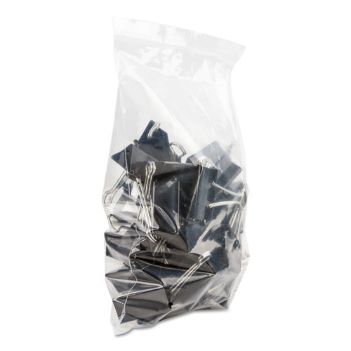 Binder Clips in Zip-Seal Bag, Large, Black/Silver, 36/Pack. Picture 4