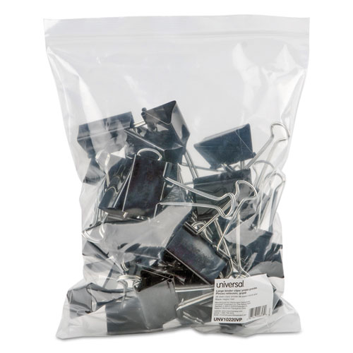 Binder Clips in Zip-Seal Bag, Large, Black/Silver, 36/Pack. Picture 3
