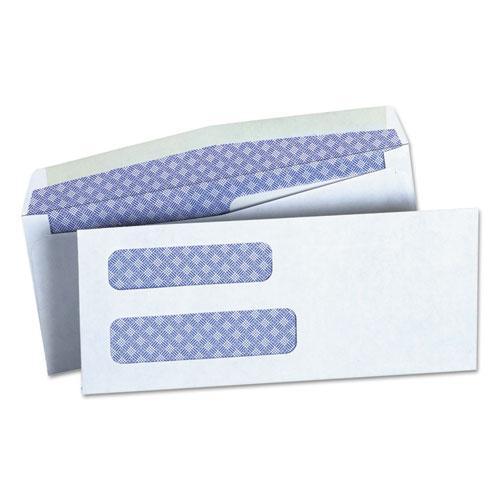 Double Window Business Envelope, #8 5/8, Square Flap, Gummed Closure, 3.63 x 8.63, White, 500/Box. Picture 1