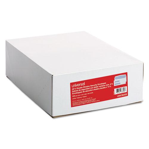 Double Window Business Envelope, #8 5/8, Square Flap, Gummed Closure, 3.63 x 8.63, White, 500/Box. Picture 2