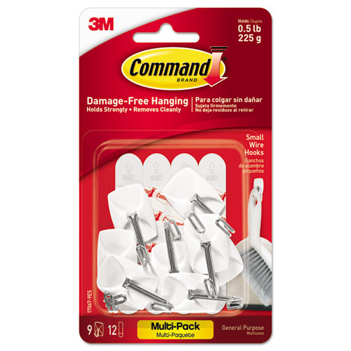 General Purpose Wire Hooks Multi-Pack, Small, 0.5 lb Cap, White, 9 Hooks and 12 Strips/Pack