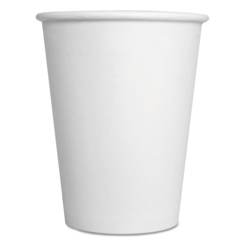 Convenience Pack Paper Hot Cups, 12 oz, White, 9 Cups/Sleeve, 25 Sleeves/Carton. Picture 1