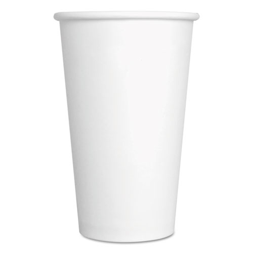 Convenience Pack Paper Hot Cups, 16 oz, White, 9 Cups/Sleeve, 20 Sleeves/Carton. Picture 1