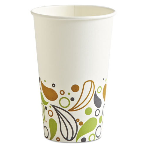 Convenience Pack Paper Hot Cups, 16 oz, Deerfield Print, 9 Cups/Sleeve, 20 Sleeves/Carton. Picture 1