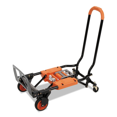 2-in-1 Multi-Position Hand Truck and Cart, 16.63 x 12.75 x 49.25, Gray/Orange. Picture 2