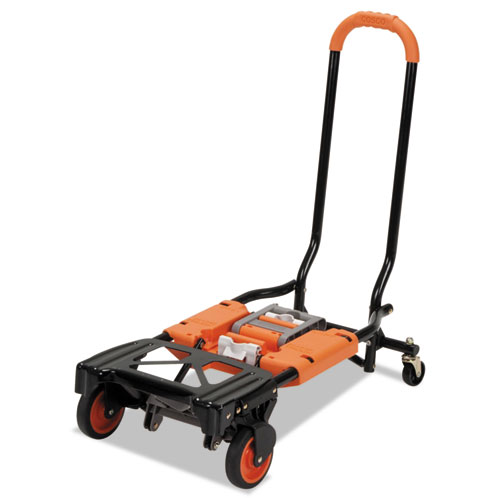 2-in-1 Multi-Position Hand Truck and Cart, 16.63 x 12.75 x 49.25, Gray/Orange. Picture 3