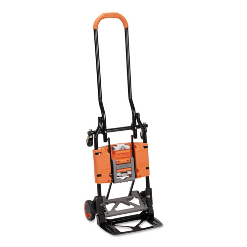 2-in-1 Multi-Position Hand Truck and Cart, 16.63 x 12.75 x 49.25, Gray/Orange. Picture 4