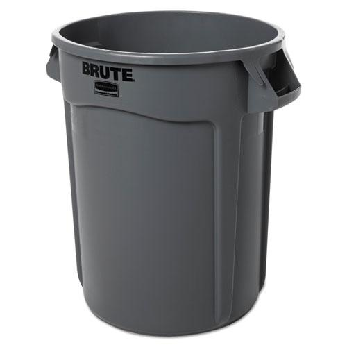 Round Brute Container, Plastic, 32 gal, Gray. Picture 1