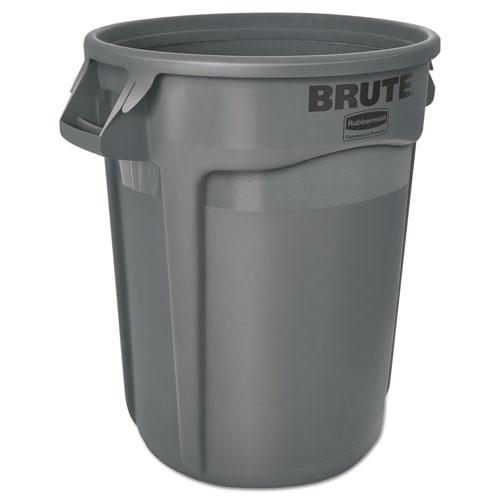 Round Brute Container, Plastic, 32 gal, Gray. Picture 2