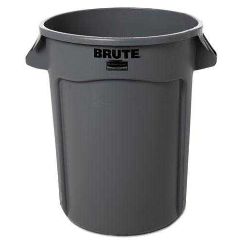 Round Brute Container, Plastic, 32 gal, Gray. Picture 3