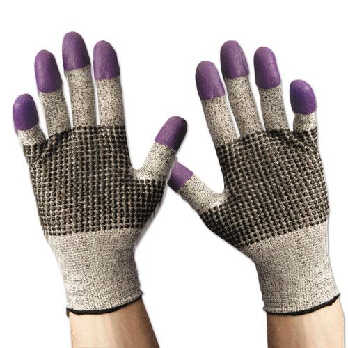 G60 Purple Nitrile Gloves, 240 mm Length, Large/Size 9, Black/White, Pair. Picture 6