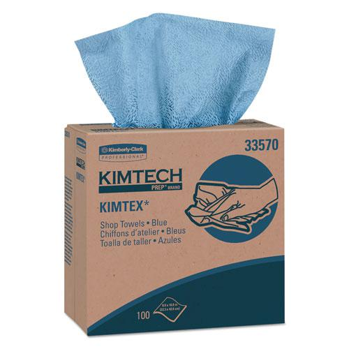 KIMTEX Wipers, POP-UP Box, 8 4/5 x 16 4/5, Blue, 100/Box, 5/Carton. Picture 1